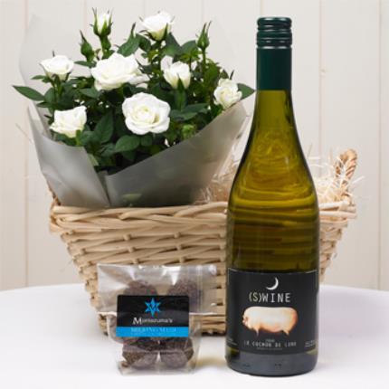 Plants - Rose & White Wine Gift Basket - Image 2