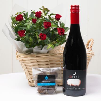 Plants - Rose & Red Wine Gift Basket - Image 2
