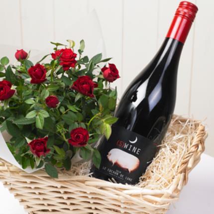 Plants - Rose & Red Wine Gift Basket - Image 4
