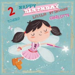 Greeting Cards - Little Fairy Princess Personalised Happy 2nd Birthday Card - Image 1