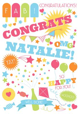 Fab So Happy For You Well Done Personalised Congratulations Card