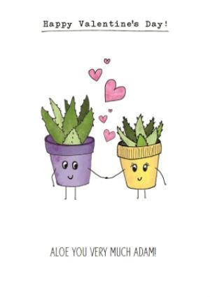 Greeting Cards - Aloe You Very Much Personalised Valentines Card - Image 1