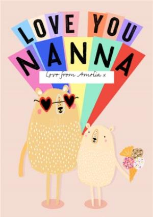 Greeting Cards - Bear Love You Nanna Personalised Mother's Day Card - Image 1