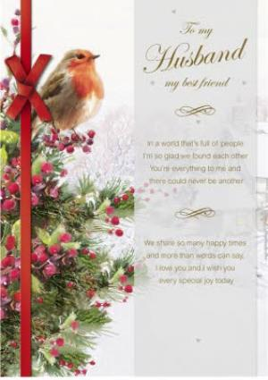 Husband Christmas Cards.To Husband Best Friend Robin On Christmas Tree Card