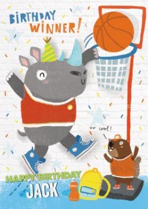 Greeting Cards - Birthday Winner Dunking Rhino Card  - Image 1