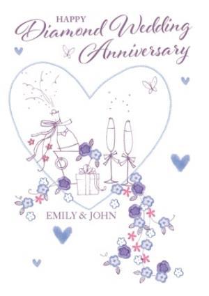Greeting Cards - Anniversary Card - Happy Diamond Wedding Anniversary - Image 1