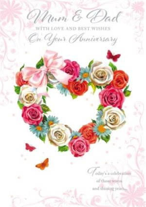 Greeting Cards - Anniversary Card - Mum & Dad with love and best wishes - Image 1