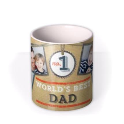 Mugs - Father's Day No.1 Dad Brown Photo Upload Mug - Image 3