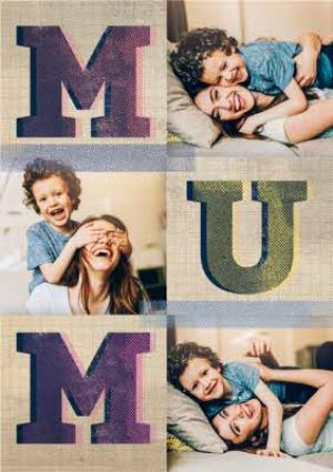 Greeting Cards - Big Block Mum Letters Multi-Photo Personalised Mother's Day Card - Image 1