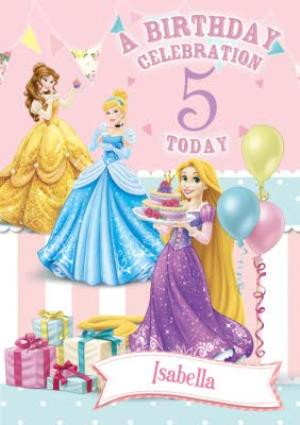 Greeting Cards - 5th Birthday Card - Disney Princess Card - Image 1