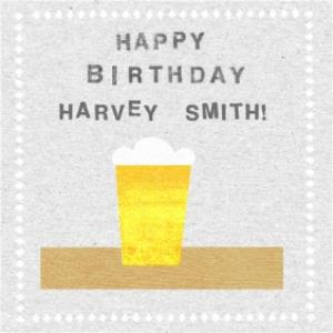 Greeting Cards - A Pint Personalised Happy Birthday Card - Image 1