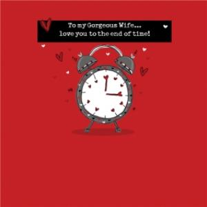 Greeting Cards - I Love You To The End Of Time Wife Valentine's Day Square Card - Image 1