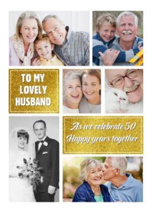 Greeting Cards - 50th Gold Golden Anniversary Photo Upload Card For Husband - Image 1