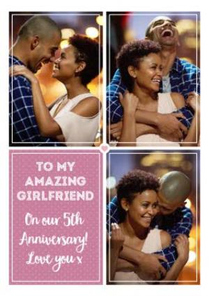 Greeting Cards - Anniversary Photo upload card - On our 5th Anniversary - Image 1