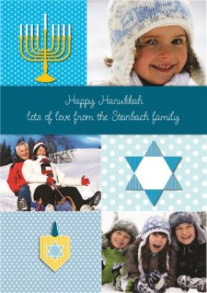 Greeting Cards - Blue Personalised Photo Upload Happy Hanukkah Card - Image 1