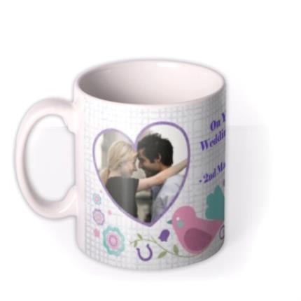 Mugs - Love Birds, Wedding Bands, and Hearts Photo Upload Mug - Image 1