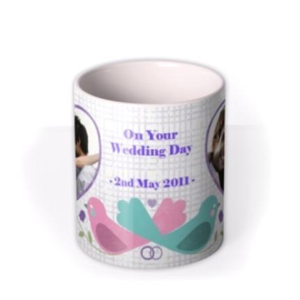 Mugs - Love Birds, Wedding Bands, and Hearts Photo Upload Mug - Image 3