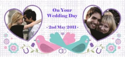 Mugs - Love Birds, Wedding Bands, and Hearts Photo Upload Mug - Image 4