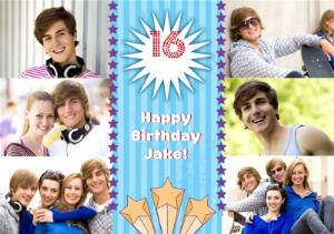 Greeting Cards - Blue Stripes And Stars Personalised Photo Upload Happy 16th Birthday - Image 1