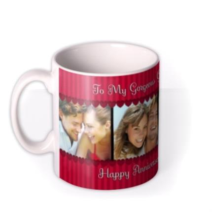 Mugs - Red Stripes and Hearts Photo Strip Personalised Mug - Image 1