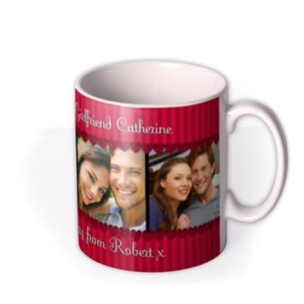 Mugs - Red Stripes and Hearts Photo Strip Personalised Mug - Image 2