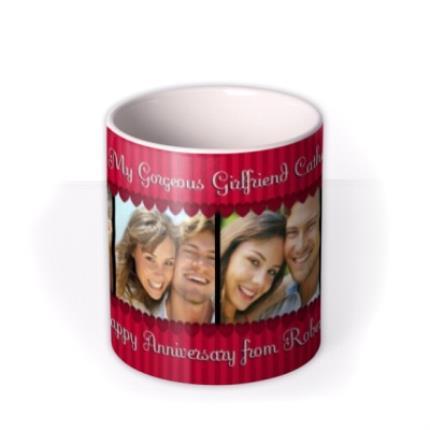 Mugs - Red Stripes and Hearts Photo Strip Personalised Mug - Image 3