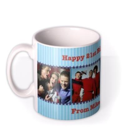 Mugs - Blue Striped Photo Strip Personalised Mug - Image 1