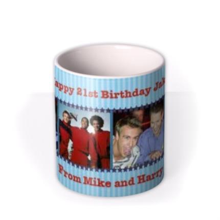 Mugs - Blue Striped Photo Strip Personalised Mug - Image 3