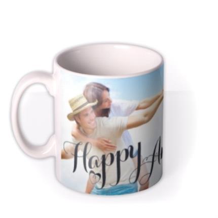 Mugs - Happy Anniversary Calligraphy Hearts Photo Upload Mug - Image 1