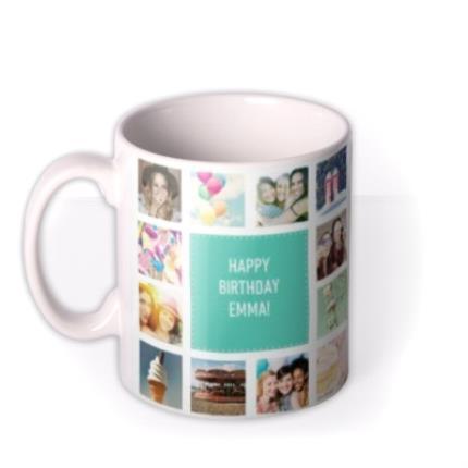 Mugs - Happy Birthday Collage Blue Photo Upload Mug - Image 1