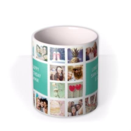 Mugs - Happy Birthday Collage Blue Photo Upload Mug - Image 3