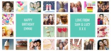 Mugs - Happy Birthday Collage Blue Photo Upload Mug - Image 4