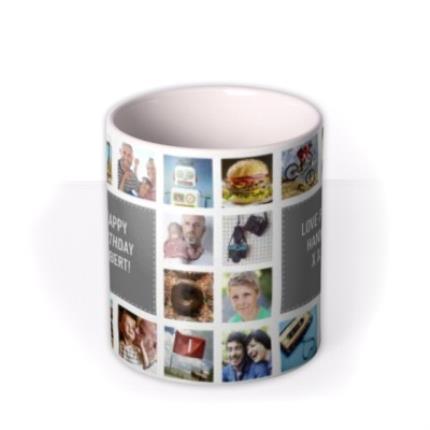 Mugs - Happy Birthday Collage Grey Photo Upload Mug - Image 3
