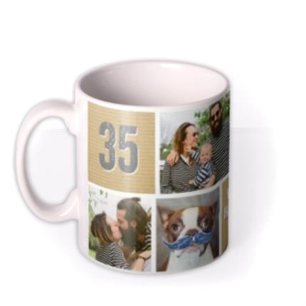 Mugs - Happy Birthday Brown Paper Photo Upload Mug - Image 1