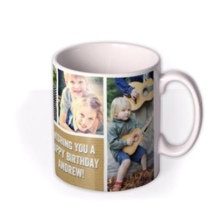 Mugs - Happy Birthday Brown Paper Photo Upload Mug - Image 2