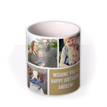 Mugs - Happy Birthday Brown Paper Photo Upload Mug - Image 3