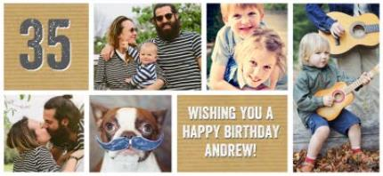 Mugs - Happy Birthday Brown Paper Photo Upload Mug - Image 4