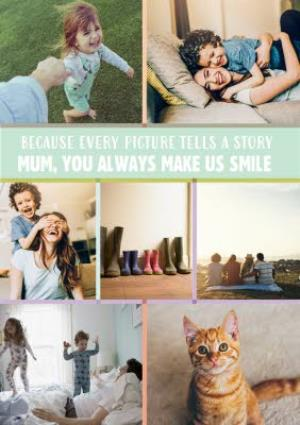 Greeting Cards - Light Green Multi-Photo And Personalised Text Card - Image 1