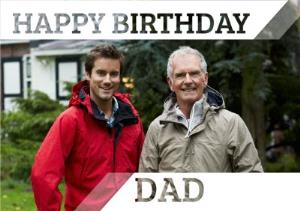 Greeting Cards - Invisible Letters Happy Birthday Dad Photo Upload Card - Image 1