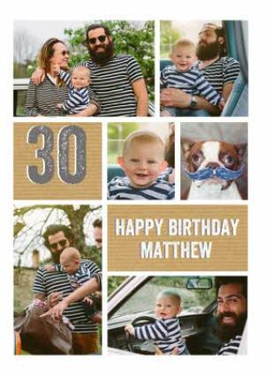 Greeting Cards - 30th Birthday Photo Upload Card  - Image 1