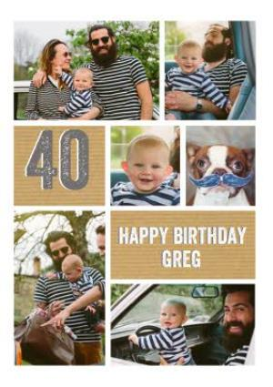 Greeting Cards - 40th Birthday Photo Upload Card  - Image 1