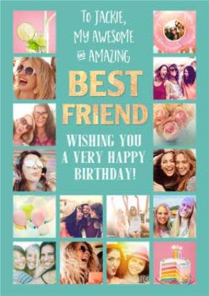 Greeting Cards - My Awesome and Amazing Best Friend Photo Upload Birthday Card   - Image 1