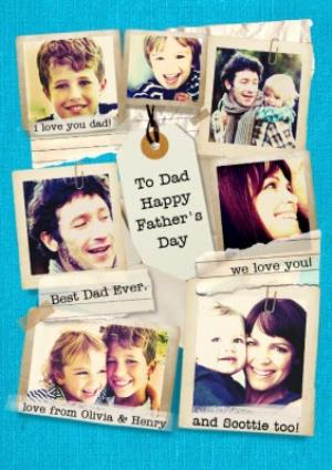 Greeting Cards - Blue Best Dad Ever Personalised Multi Photo Happy Father's Day Card - Image 1
