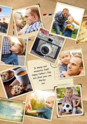 Greeting Cards - Memories Personalised Multi Photo Upload Happy Father's Day Card - Image 1