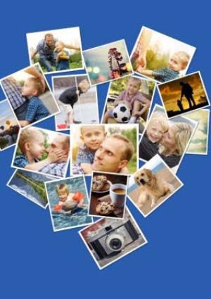 Greeting Cards - Blue Heart Shaped Personalised Photo Upload Greetings Card - Image 1