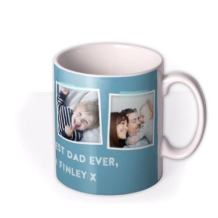 Mugs - Father's Day Blue Photo Upload Mug - Image 2