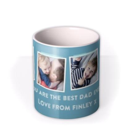 Mugs - Father's Day Blue Photo Upload Mug - Image 3
