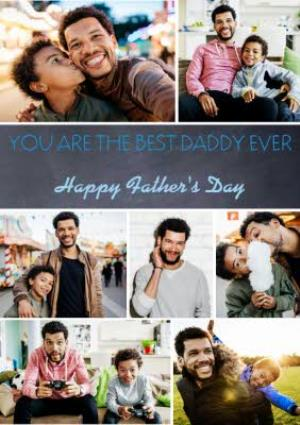 Greeting Cards - Best Daddy Ever 7 Square Personalised Photo Upload Happy Father's Day Card - Image 1