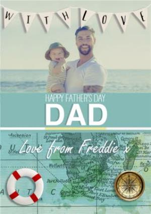 Greeting Cards - Around The World Personalised Photo Upload Happy Father's Day Card - Image 1