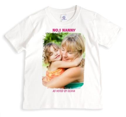 T-Shirts - Number One Nanny Personalised Photo White T-Shirt - Image 1